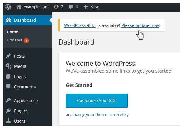 Wordpress-update-notice
